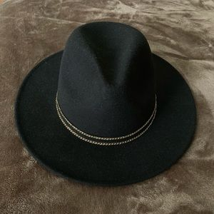 Black Fedora with Gold Accent